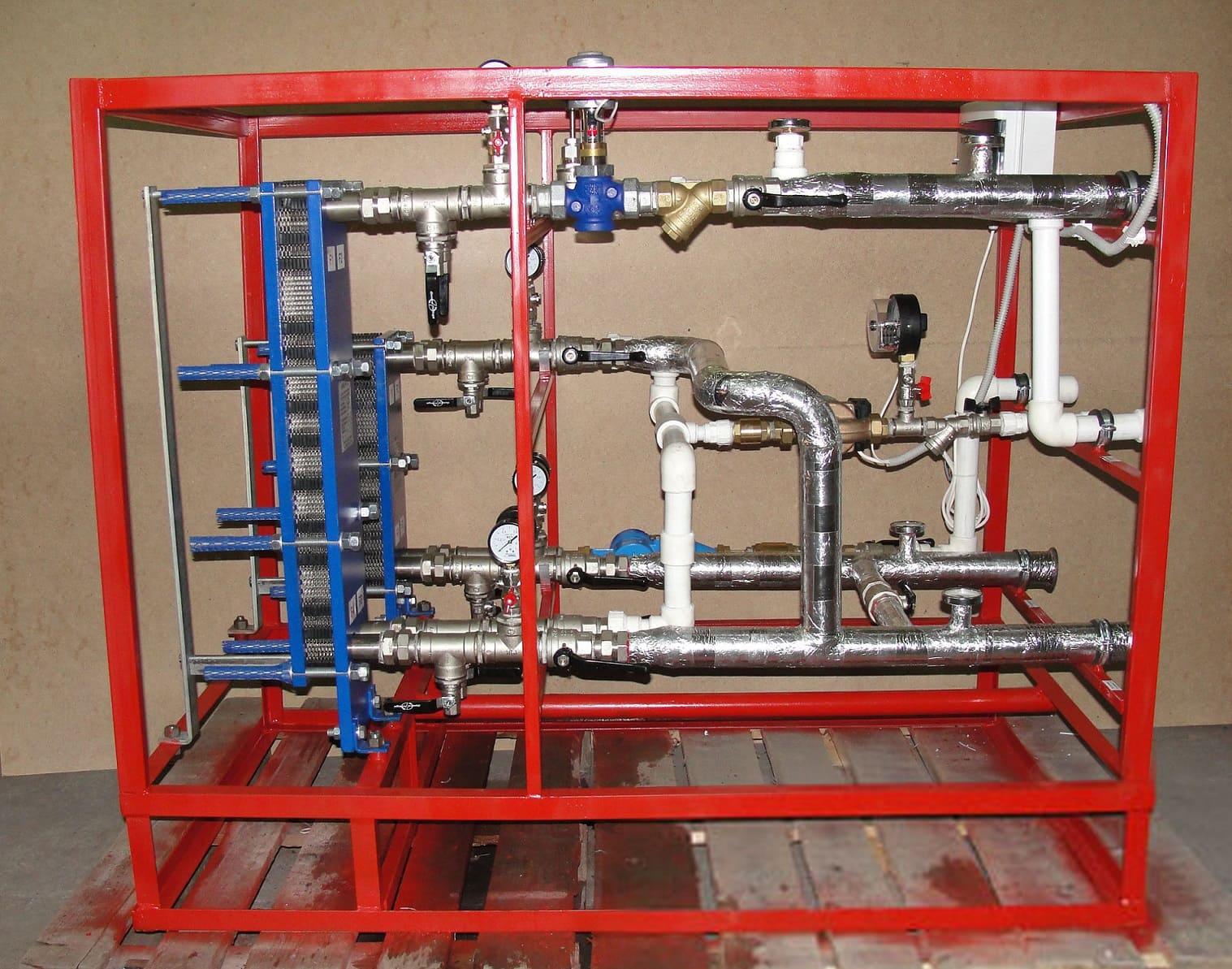 Технологическая схема 12 блочного теплового пункта для системы отопления при зависимом присоединении к тепловой сети